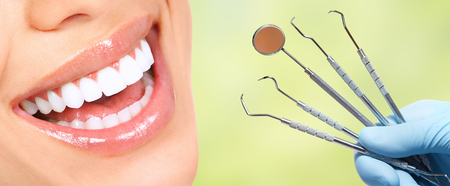 Beautiful woman smile with healthy white teeth. Dental health care. Stockfoto