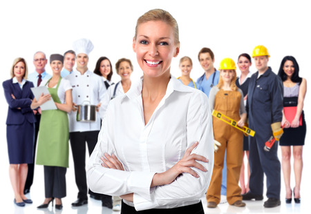Beautiful business woman and group of workers background.