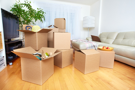 Moving boxes in new apartment. Real estate concept. Stok Fotoğraf