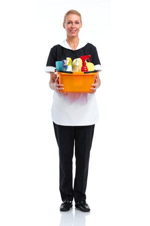 Uśmiechnięta kobieta służąca Pojedynczo na białym tle. Zdjęcie Seryjne