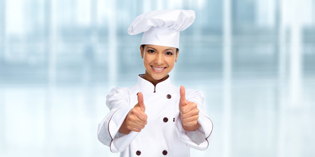 Smiling Asian chef woman. Food and diet concept.