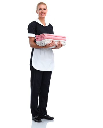 Smiling maid woman Isolated over white background.