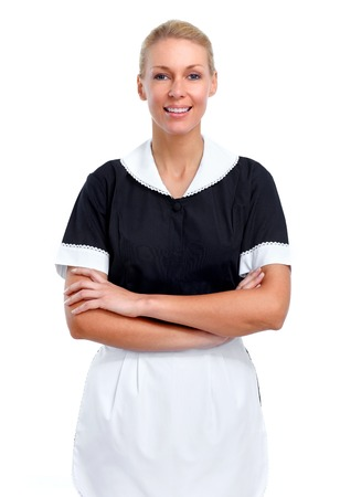 Smiling maid woman Isolated over white background. Zdjęcie Seryjne - 52885257