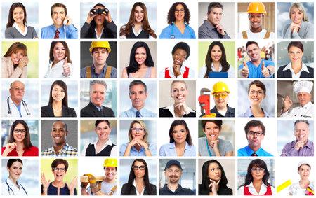 Biznes Ludzie Pracownicy twarze kolażu tła. Pojęcie pracy zespołowej.