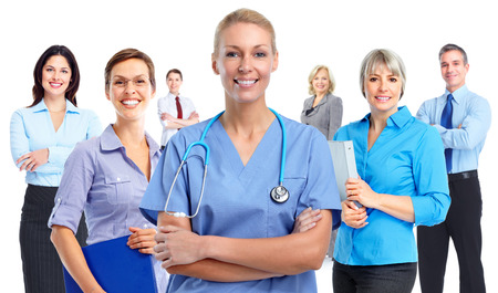 Smiling medical doctor woman. Health care background.