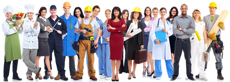 Group of workers people isolated over white background. Zdjęcie Seryjne - 52885806