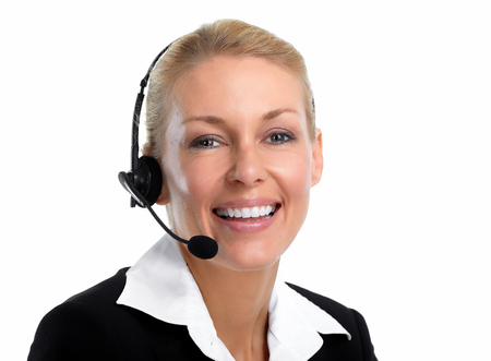 Smiling young agent business woman with headsets over white background.