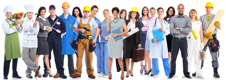 Groep werknemers mensen die over een witte achtergrond.