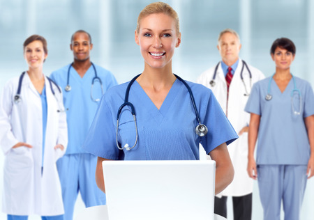Beautiful medical doctor woman. Health care background.