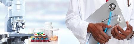 Microscopio científica. Médico concepto de cuidado de la salud investigación de fondo.