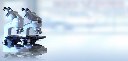 Scientific Microscope. Medical health care research concept background. Zdjęcie Seryjne