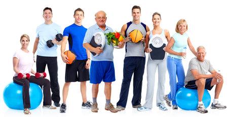 Gruppe von gesunden Fitness-Menschen über weißem Hintergrund. Standard-Bild - 54200797