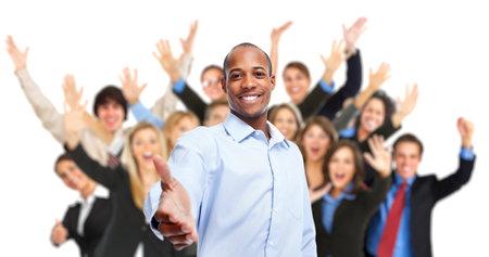 African-American Geschäftsmann und Gruppe von Arbeitern Menschen. Standard-Bild - 54382629