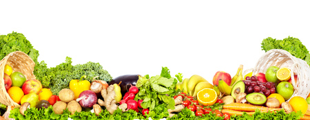 유기농 야채와 과일 신선한. 다이어트와 건강 배경입니다.