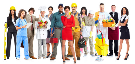 Workers people group isolated over white background.