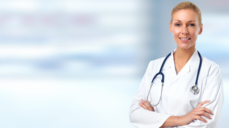 Beautiful medical doctor woman. Health care banner.