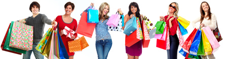 Group of happy shopping customers isolated white background. Stock Photo