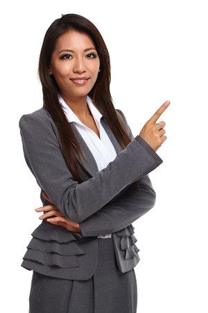 Belle femme d'affaires asiatique isolé sur fond blanc. Banque d'images