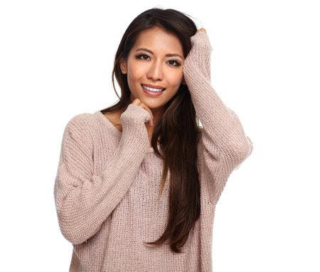 Beautiful asian woman isolated on white background. 版權商用圖片