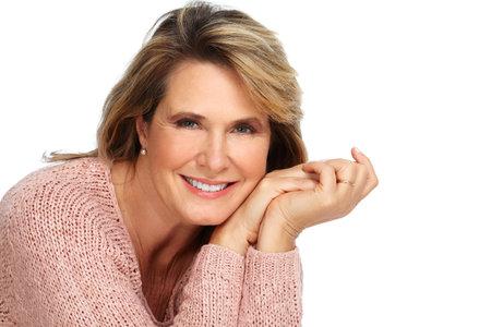 Beautiful senior woman portrait over white background.