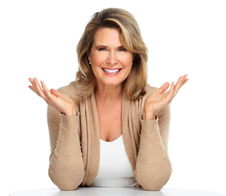 Beautiful senior woman isolated over white background.