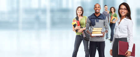Group of young smiling students. Education concept background.