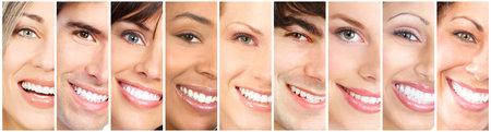얼굴을 웃고 행복한 사람들이 콜라주. 확대 미소 초상화.