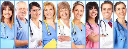Group of smiling medical doctors collage background. Stock fotó