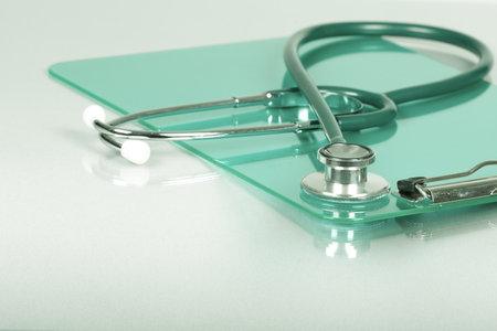 Medische stethoscoop. Health care service concept achtergrond.