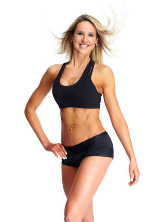 Beautiful fitness girl isolated on white background.