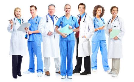 의사와 간호사의 그룹 흰색 배경에 고립입니다.