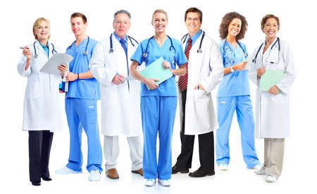 Group of medical doctors and nurses isolated on white background. Foto de archivo