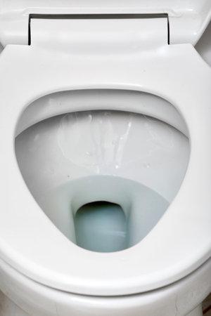White flush toilet bowl in modern bathroom. Imagens