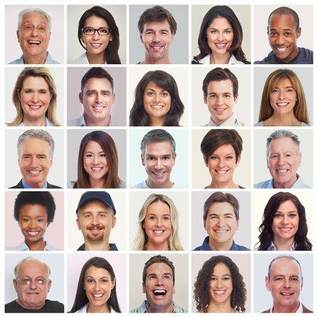 웃는 얼굴의 컬렉션입니다. 사람들의 집합입니다. 남성, 여성, 노인 다양성. 스톡 콘텐츠