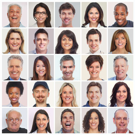 Collection of smiling faces. Set of people. Men, women, seniors diversity.