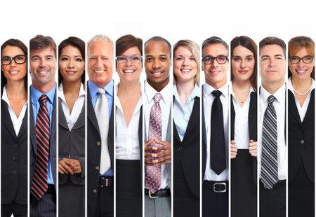Het verzamelen van lachende mensen uit het bedrijfsleven, mannen en vrouwen