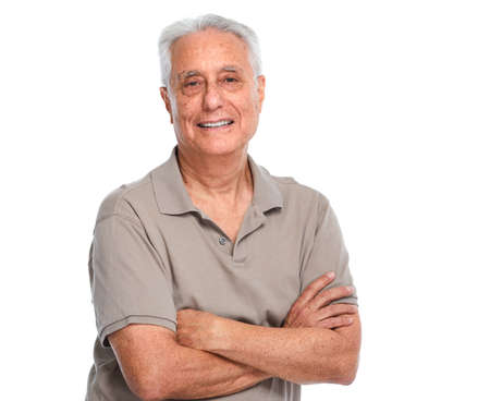 Smiling elderly man portrait isolated over white background.