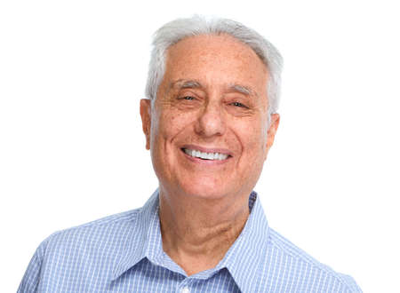 Happy smiling elderly man portrait isolated white background.