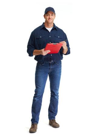 Attraktive junge Automechaniker in Uniform weißem Hintergrund. Standard-Bild - 64225289
