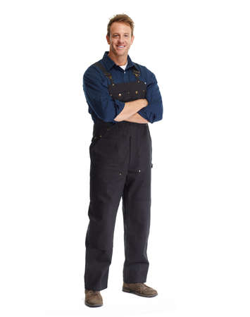 Attractive young Car mechanic in uniform isolated white background.