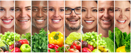People with fruits and vegetables set. People face smile collection. Diet. Health.