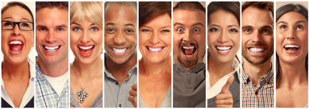 Set of happy laughing faces. People collection.