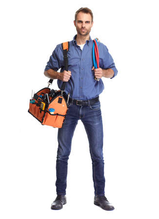 Handsome plumber with tool bag isolated white background. Stock Photo - 64387230