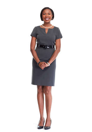 Belle femme d'affaires afro-américaine isolé fond blanc. Banque d'images - 64516386
