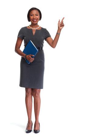 Schöne Afro-amerikanische Geschäftsfrau, weißen Hintergrund. Standard-Bild - 64516388