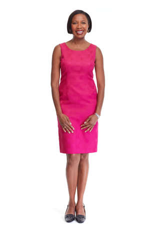 Beautiful afro american business woman isolated white background. Imagens
