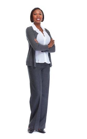 아름 다운 아프리카 계 미국인 비즈니스 여자 격리 된 흰색 배경입니다.