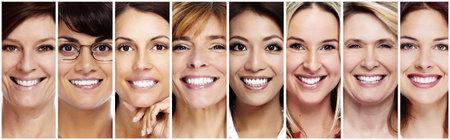 Bella donna sorriso volto collage. l'assistenza sanitaria dentale. Archivio Fotografico