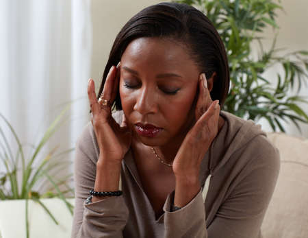 African-american woman suffering headache symptom. Health problem.