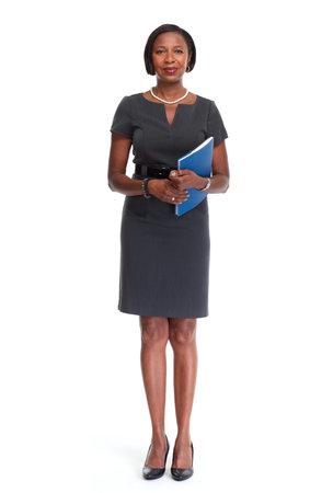Mooie Afro-Amerikaanse zakenvrouw geïsoleerd witte achtergrond. Stockfoto - 64474940